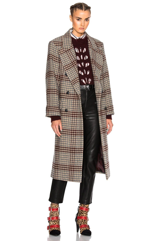 Image 1 of Isabel Marant Flint Plaid Coat in Beige
