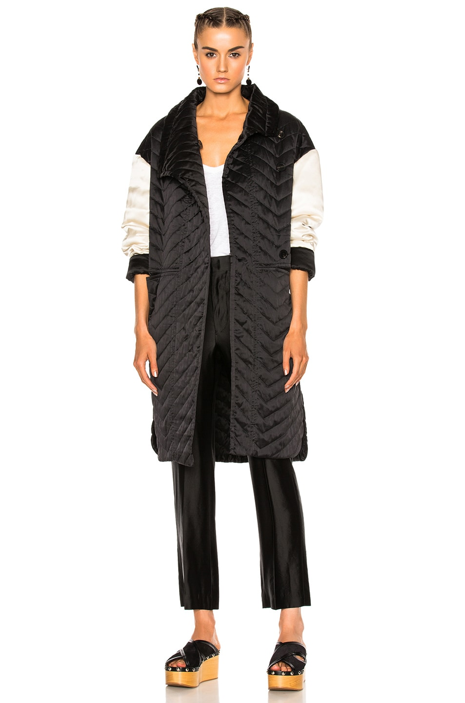 Image 1 of Isabel Marant Howell Silk Padded Jacket in Black