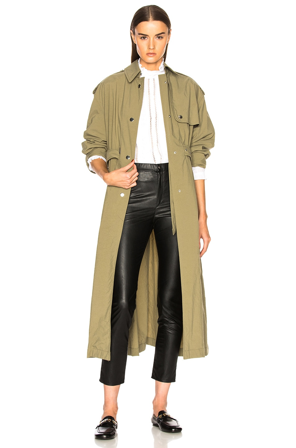 1f6a5872f15 Image 1 of Isabel Marant Lawney Trench Coat in Khaki