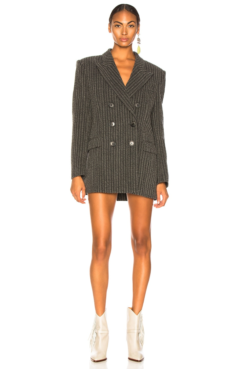 Image 2 of Isabel Marant Jaxen Blazer in Anthracite & Ecru