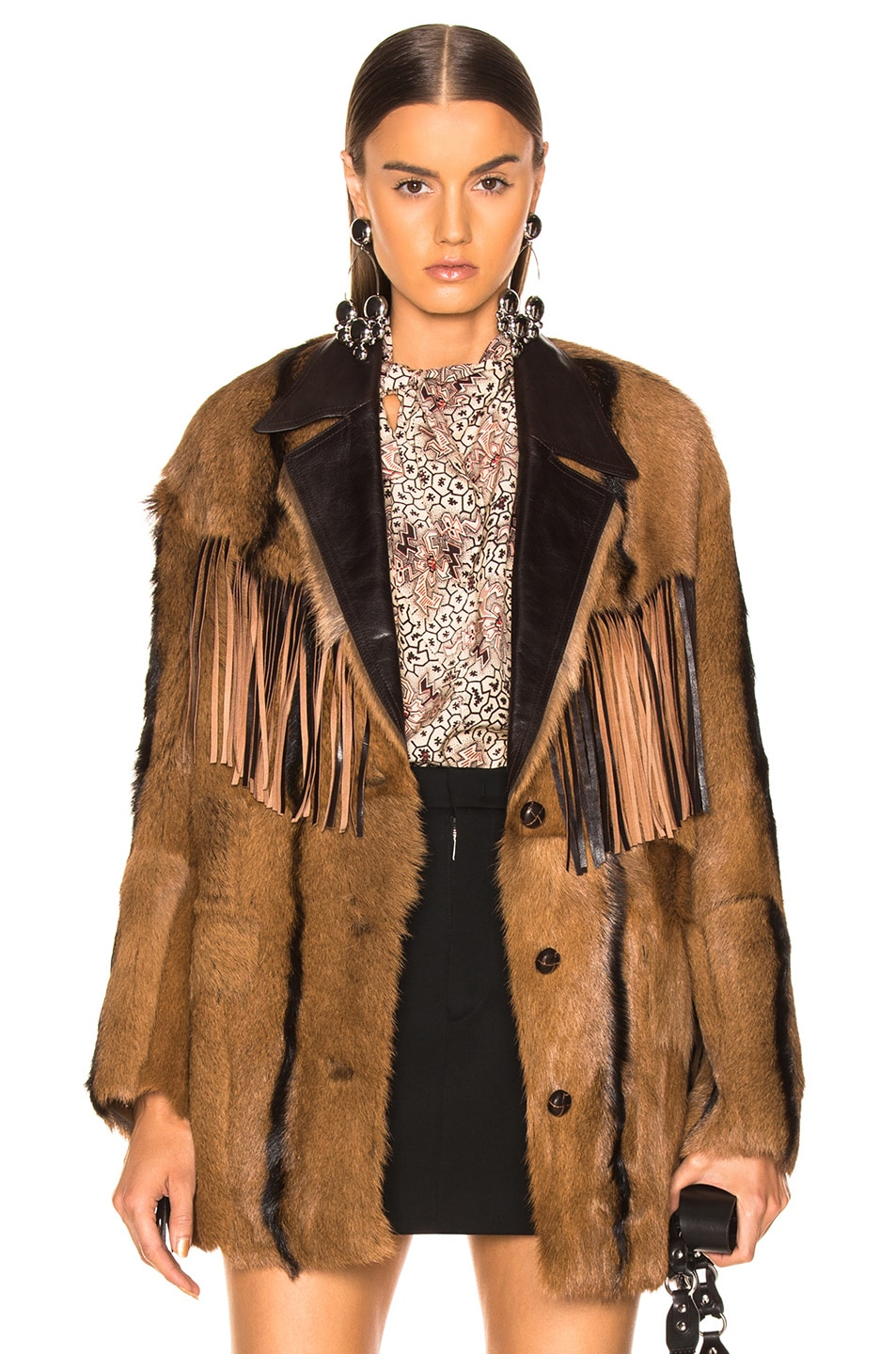 Image 1 of Isabel Marant Goat Fur Bambo Jacket in Cognac