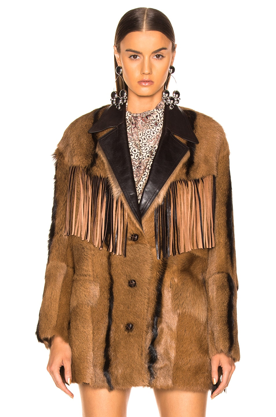 Image 2 of Isabel Marant Goat Fur Bambo Jacket in Cognac