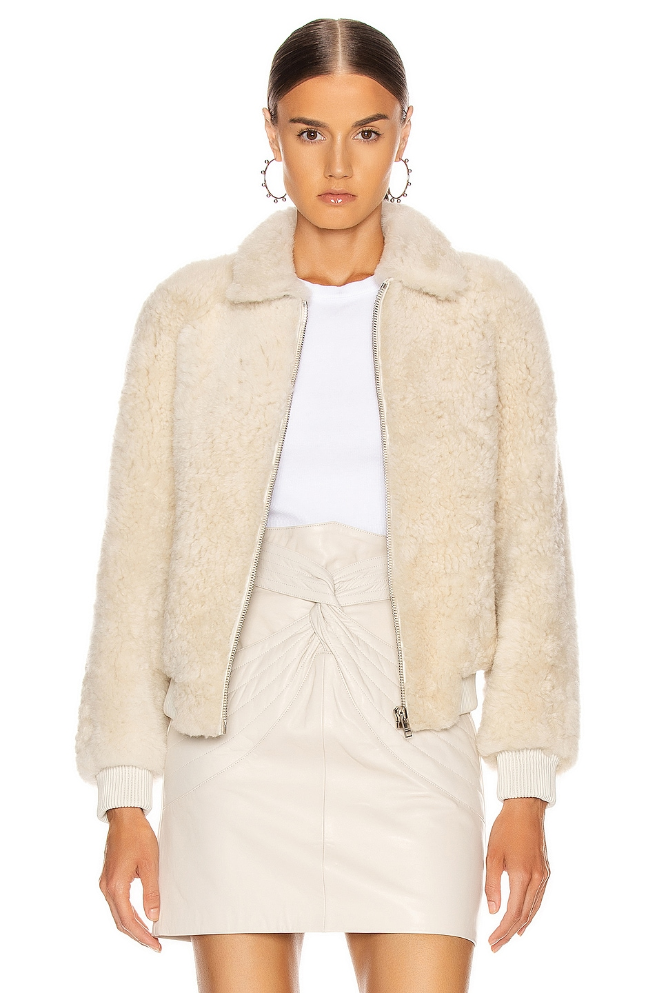 Image 1 of Isabel Marant Salvia Shearling Jacket in Ecru