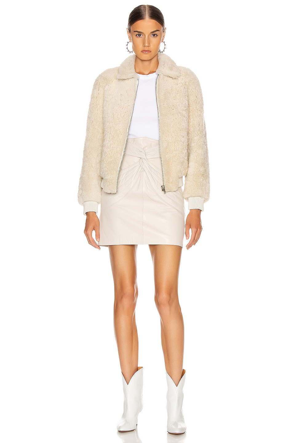 Image 5 of Isabel Marant Salvia Shearling Jacket in Ecru