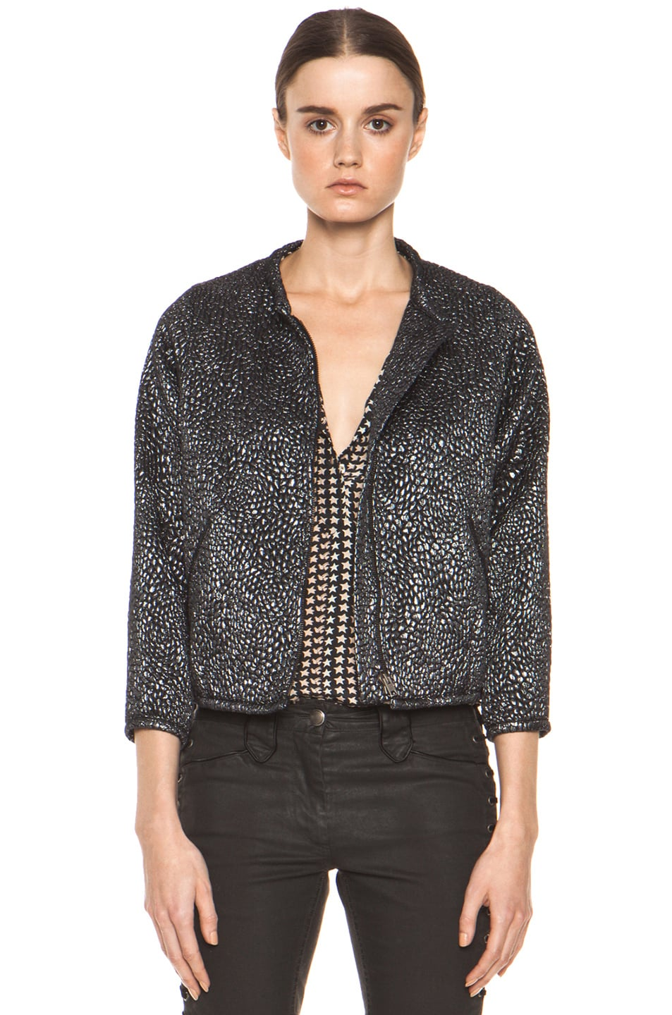 Image 1 of Isabel Marant Ginkle Bumpy Lurex Metallic Jacket in Black Silver