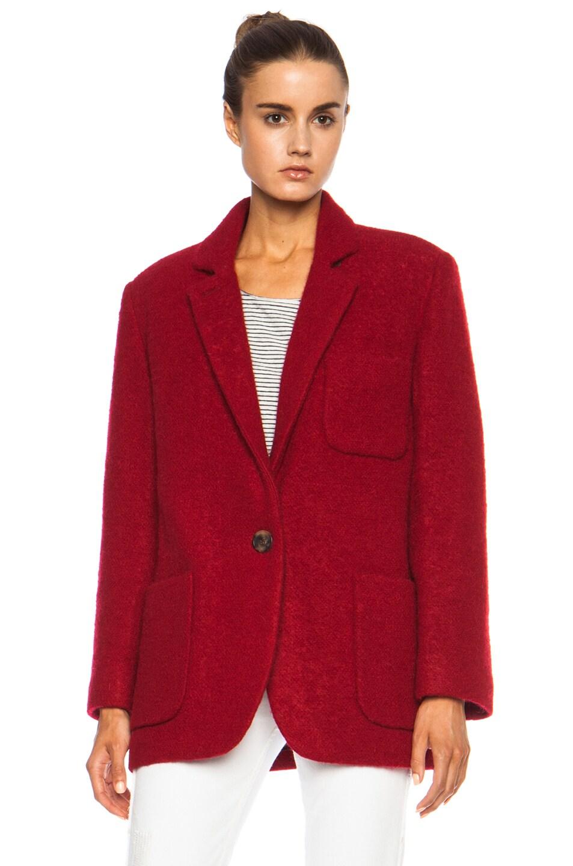 Image 2 of Isabel Marant Jady Shepard Mohair-Blend Jacket in Red