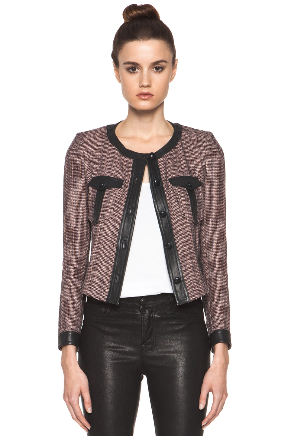 Image 1 of Isabel Marant Kacie Wool-Blend Tweed Jacket in Dusty Pink