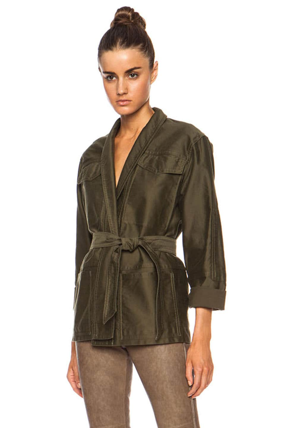 Image 1 of Isabel Marant John Cotton Satin Robe Wrap Jacket in Khaki