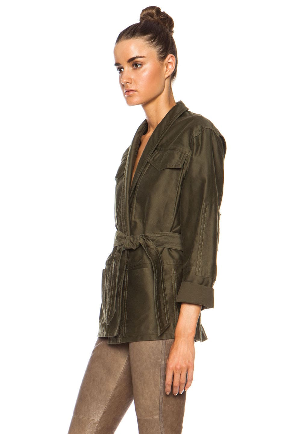 Image 2 of Isabel Marant John Cotton Satin Robe Wrap Jacket in Khaki