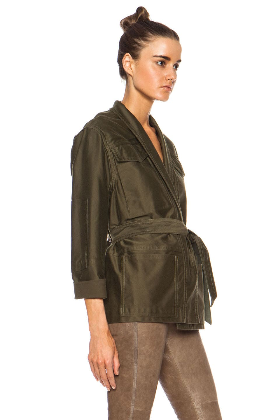 Image 3 of Isabel Marant John Cotton Satin Robe Wrap Jacket in Khaki