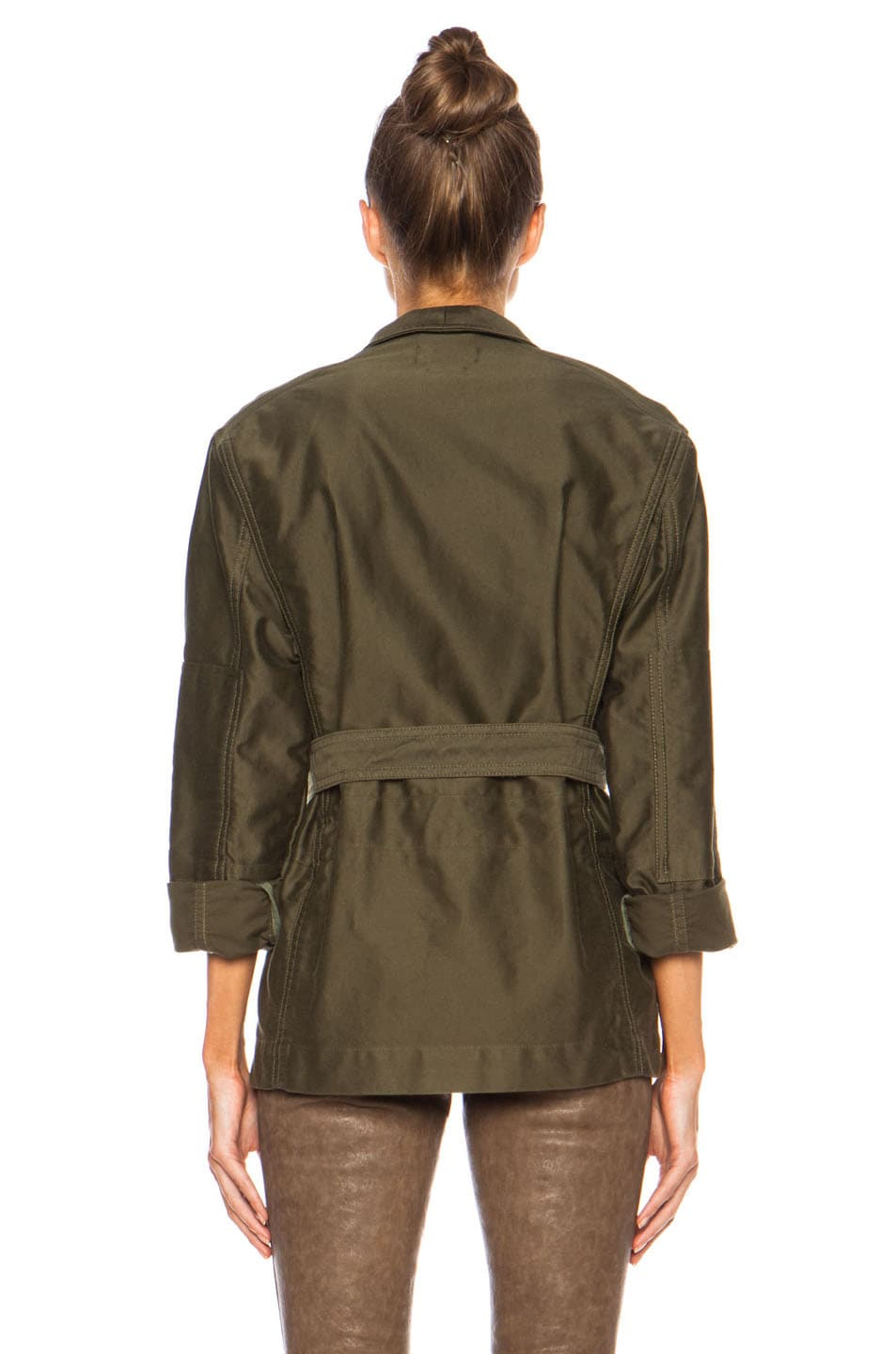 Image 4 of Isabel Marant John Cotton Satin Robe Wrap Jacket in Khaki