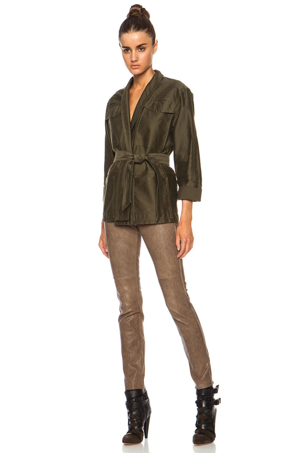 Image 5 of Isabel Marant John Cotton Satin Robe Wrap Jacket in Khaki