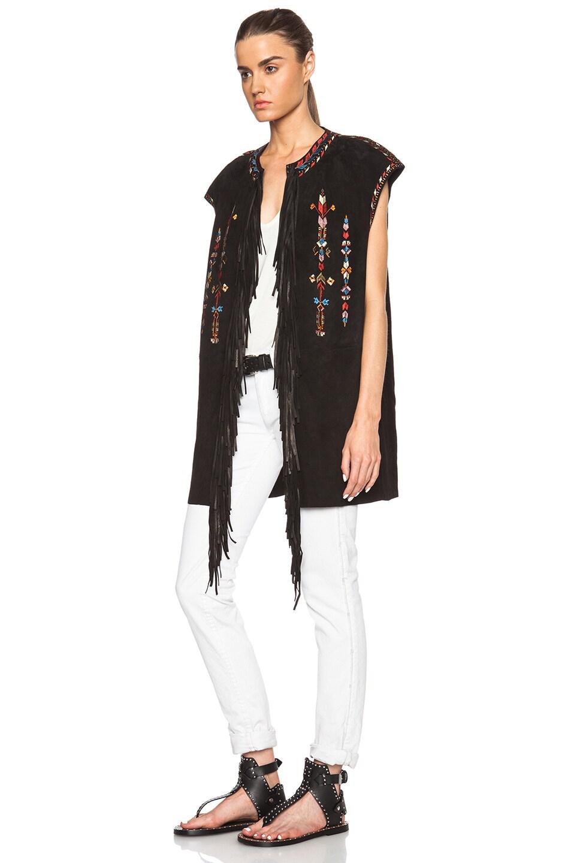Image 2 of Isabel Marant Martin Embroidered Velvet Vest in Black