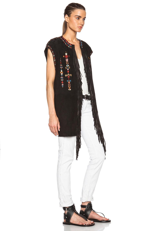 Image 3 of Isabel Marant Martin Embroidered Velvet Vest in Black
