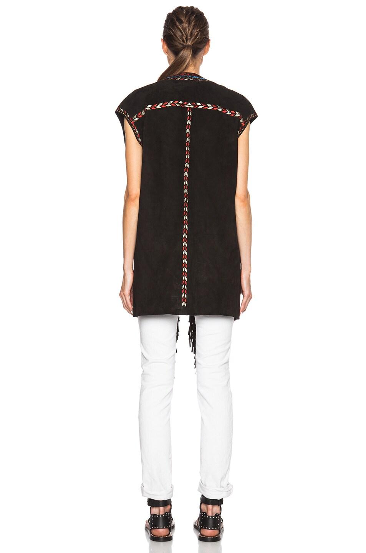 Image 4 of Isabel Marant Martin Embroidered Velvet Vest in Black