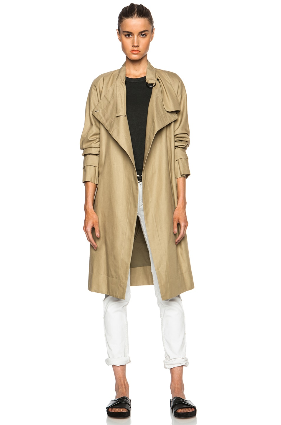 aa8bc77a863 Image 1 of Isabel Marant Only Baroudeur Light Chic Cotton-Blend Trench in  Ficelle