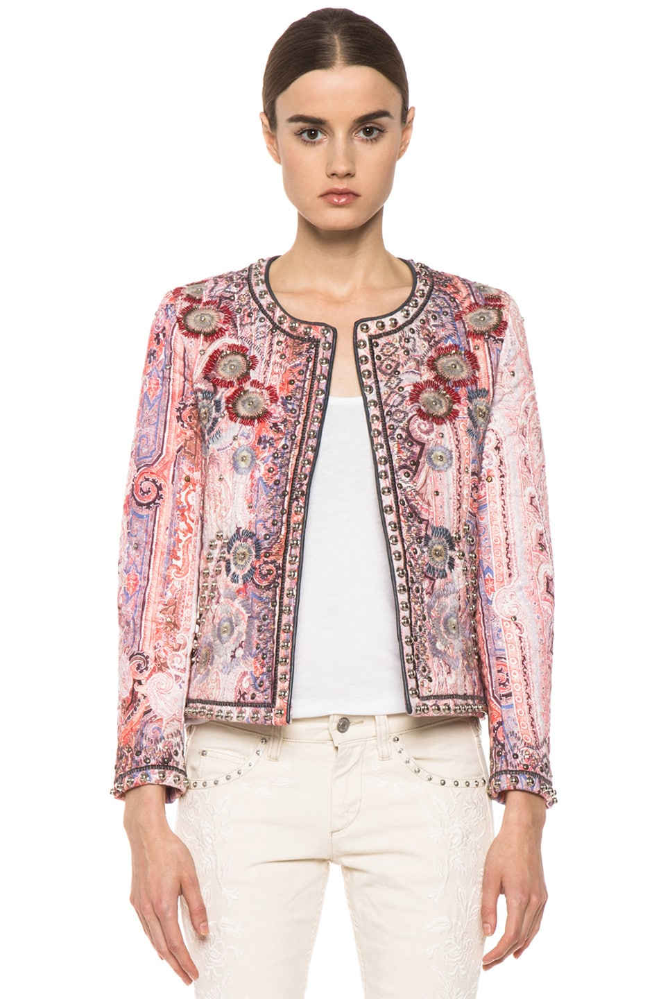 Image 1 of Isabel Marant Johnson Quilted Paisley Jacket in Violet Blue