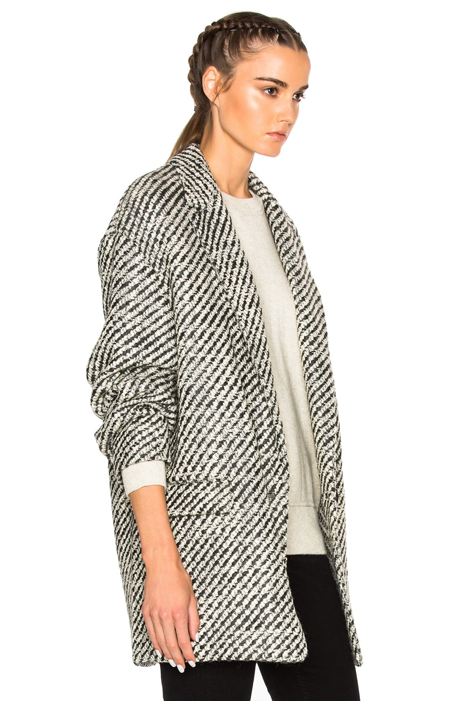 b8c8f10cac0 Image 4 of Isabel Marant Ilaria Tweedy Coat in Ecru Grey