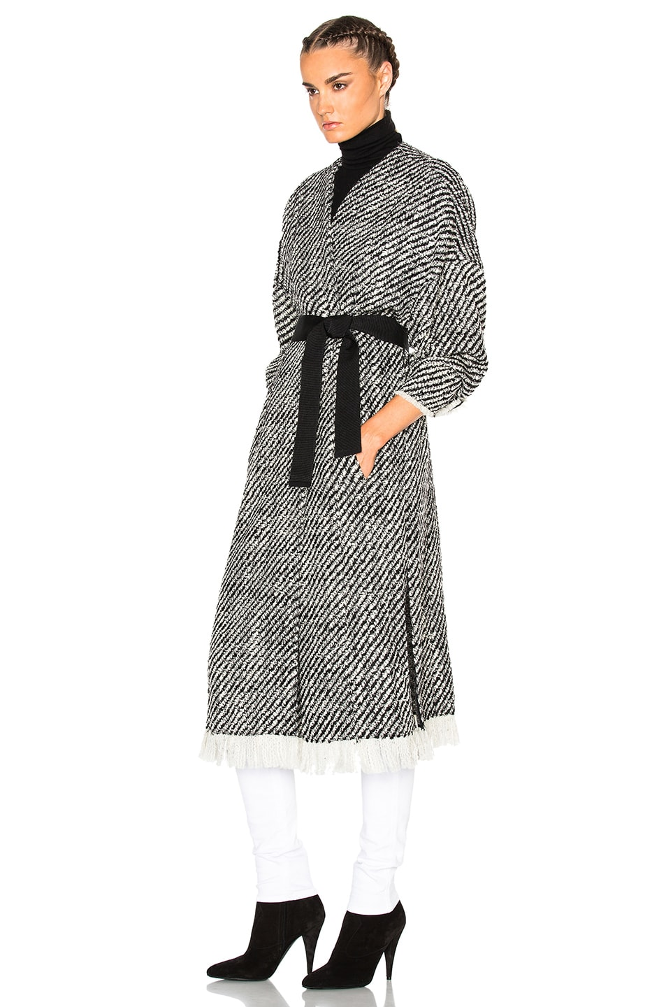 85935e073f0 Image 3 of Isabel Marant Iban Tweedy Coat in Ecru Black