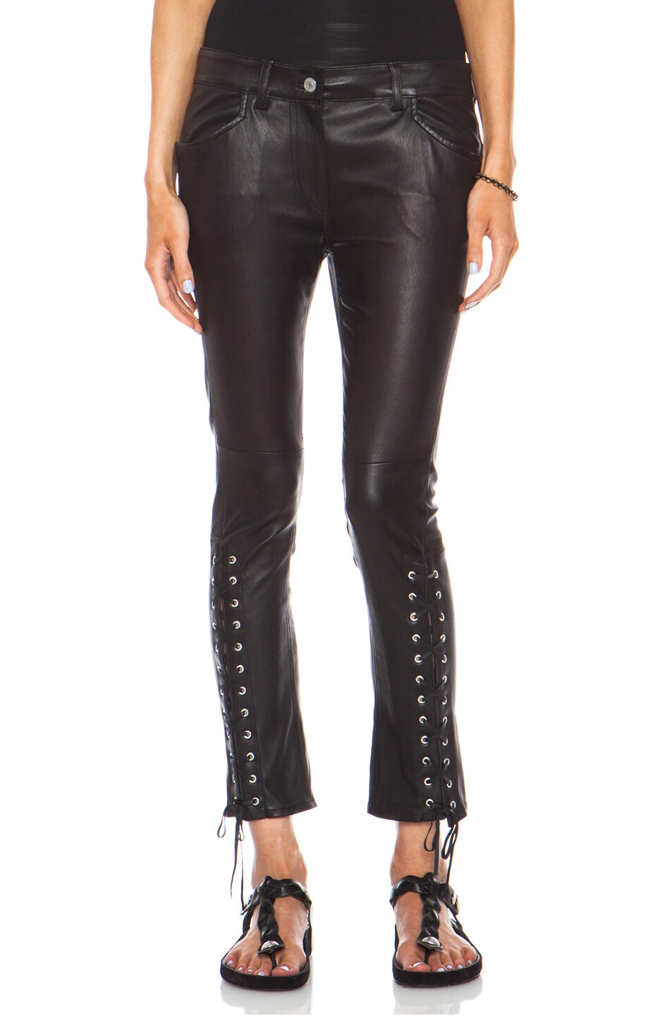 Image 1 of Isabel Marant Crystal Leather Pant in Black