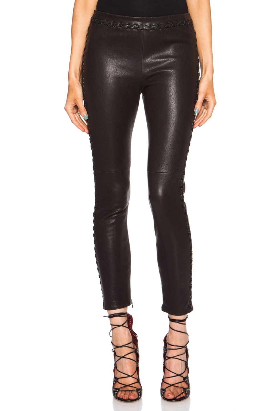 Image 1 of Isabel Marant Dayton Stretch Leather Pant in Black