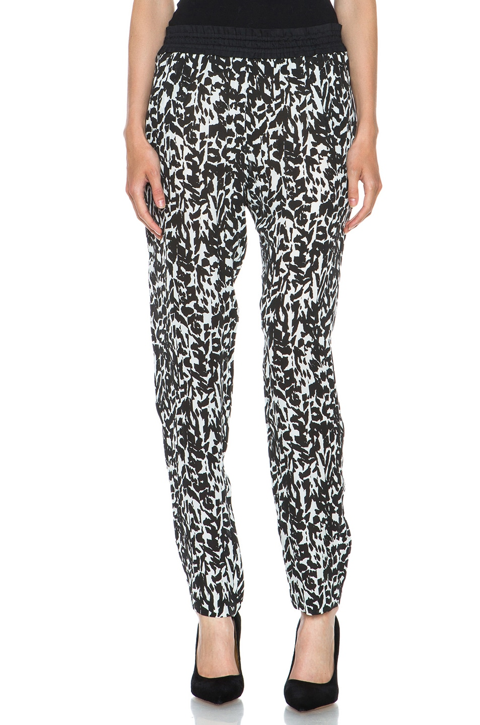 Image 1 of Isabel Marant Musk Charmeuse Leopard Pant in Black
