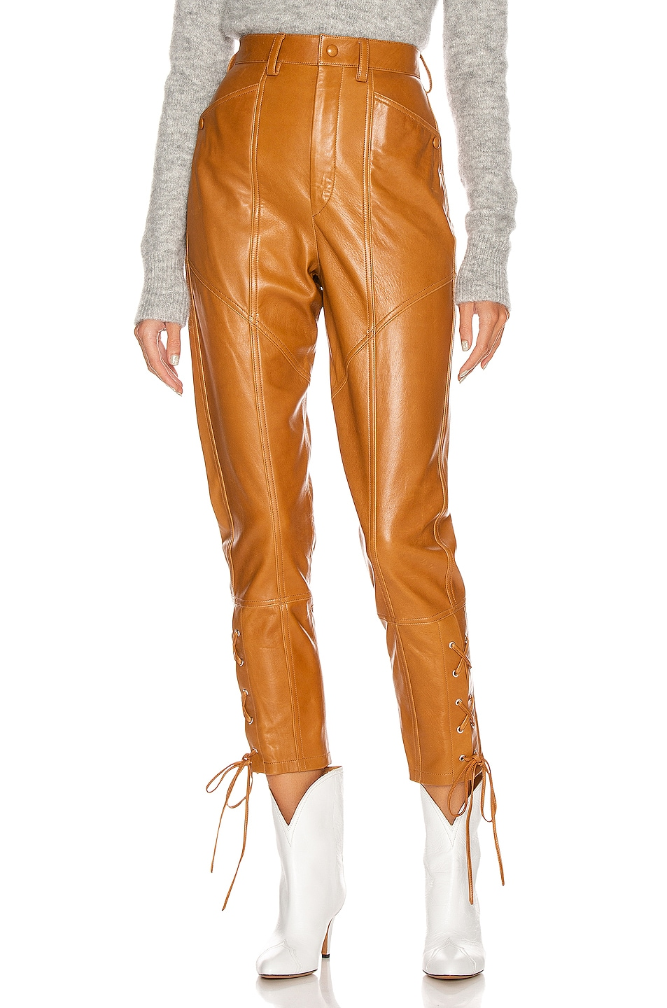Image 1 of Isabel Marant Cadix Leather Pant in Natural