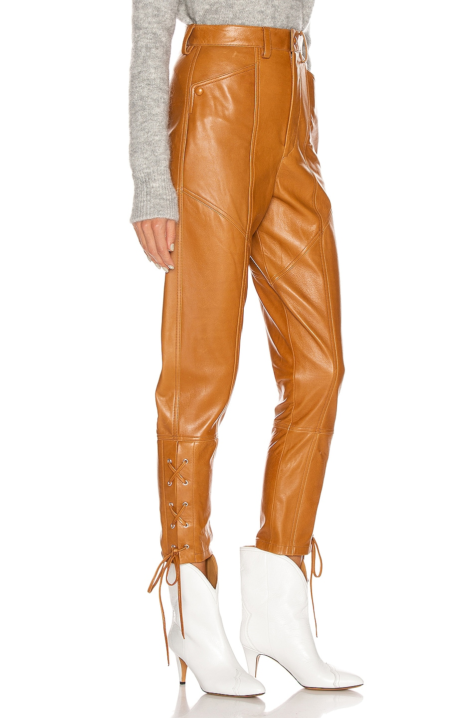 Image 2 of Isabel Marant Cadix Leather Pant in Natural