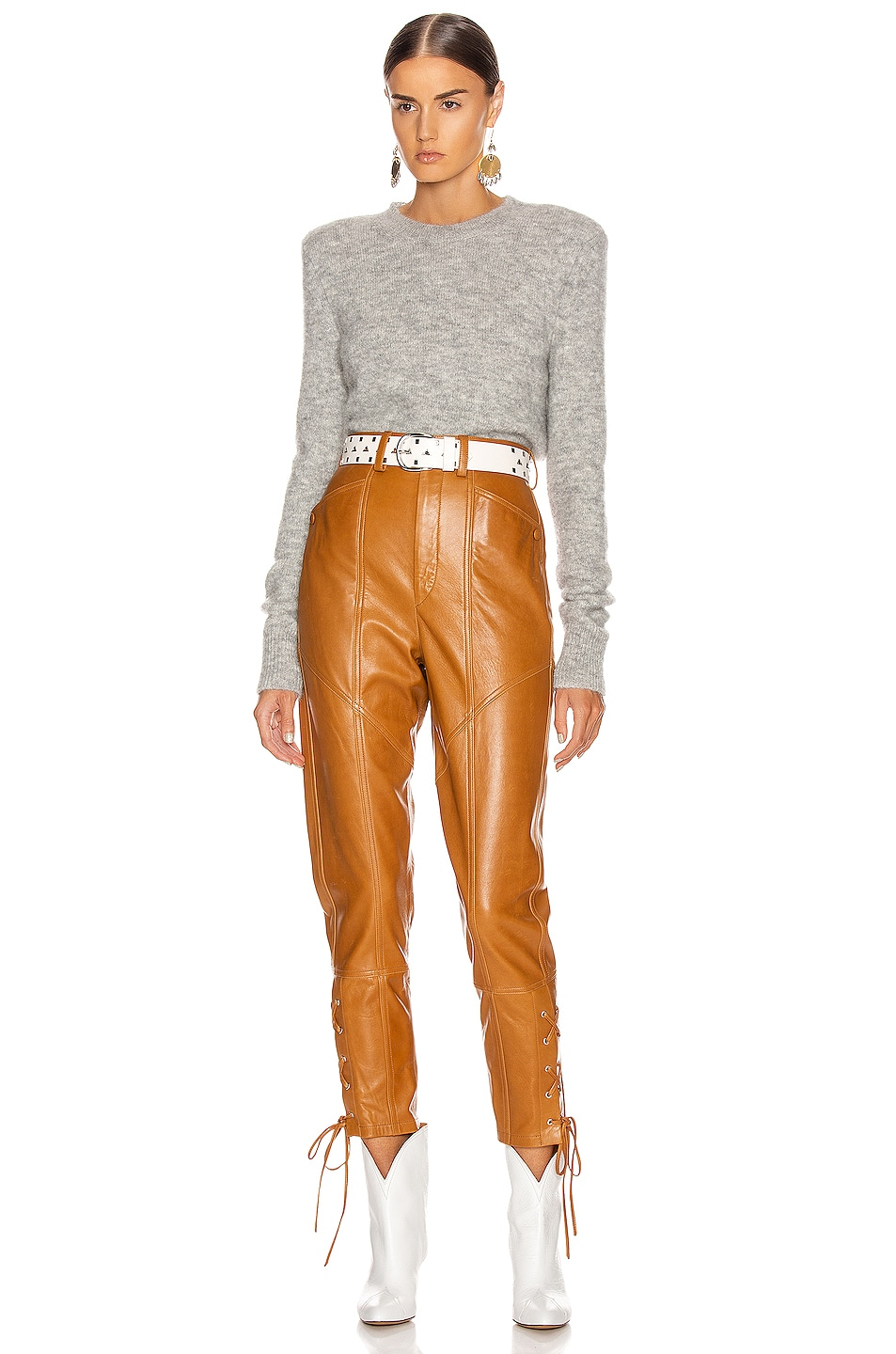 Image 4 of Isabel Marant Cadix Leather Pant in Natural
