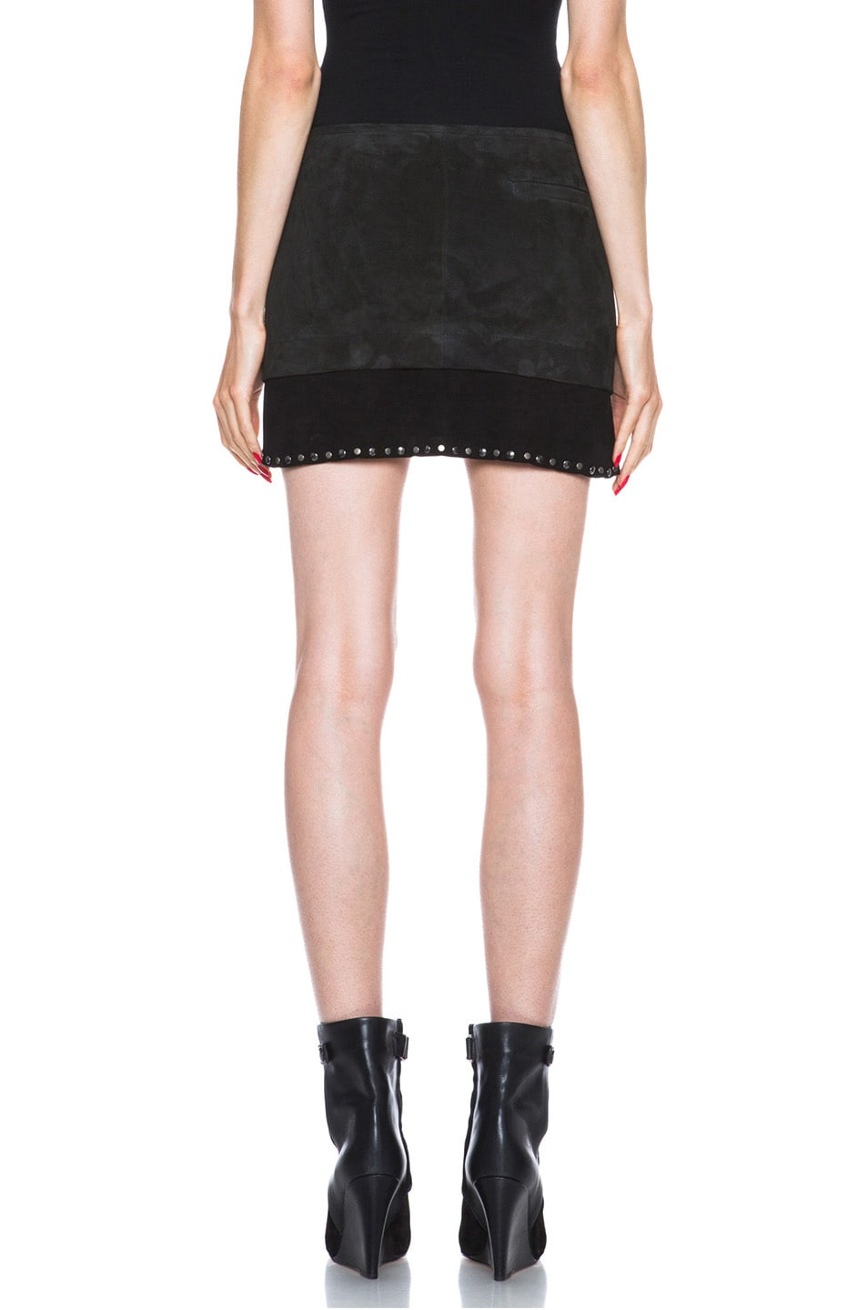 Image 4 of Isabel Marant Iolana Lambskin Studded Skirt in Faded Black