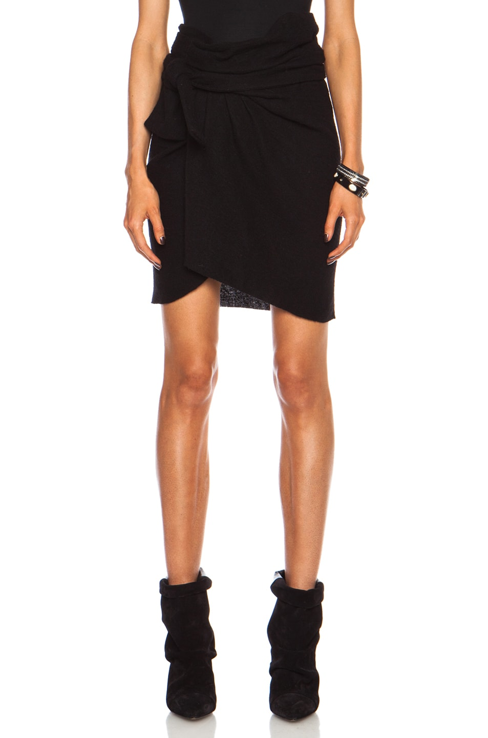 Image 1 of Isabel Marant Iga Show Wool Tie Front Skirt in Black