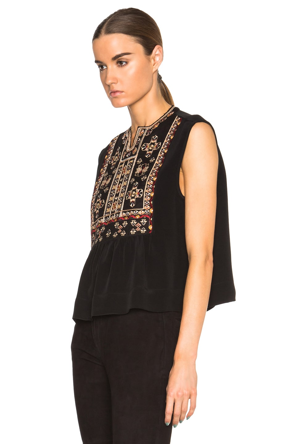 Image 2 of Isabel Marant Russ Something Ethnic Top in Black