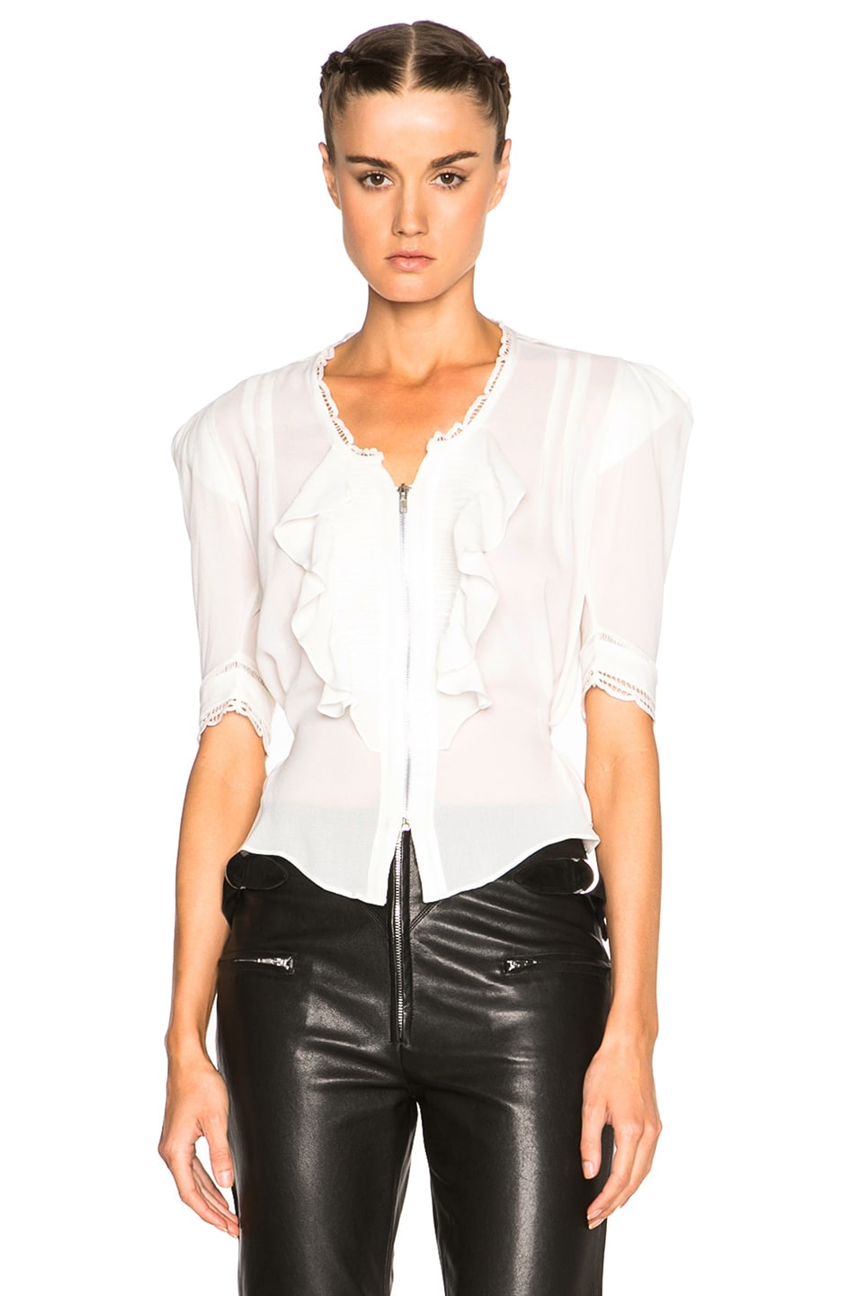 9431e9a3c140a Image 1 of Isabel Marant Qing Silk   Lace Blouse in Ecru