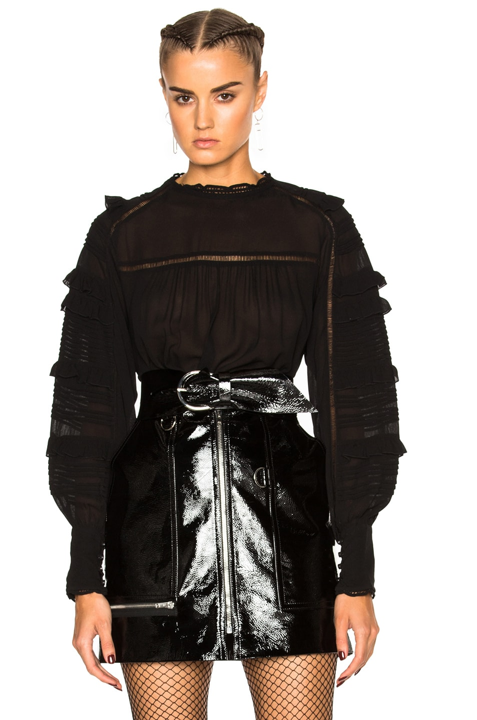 Image 1 of Isabel Marant Qimper Silk & Lace Blouse in Black