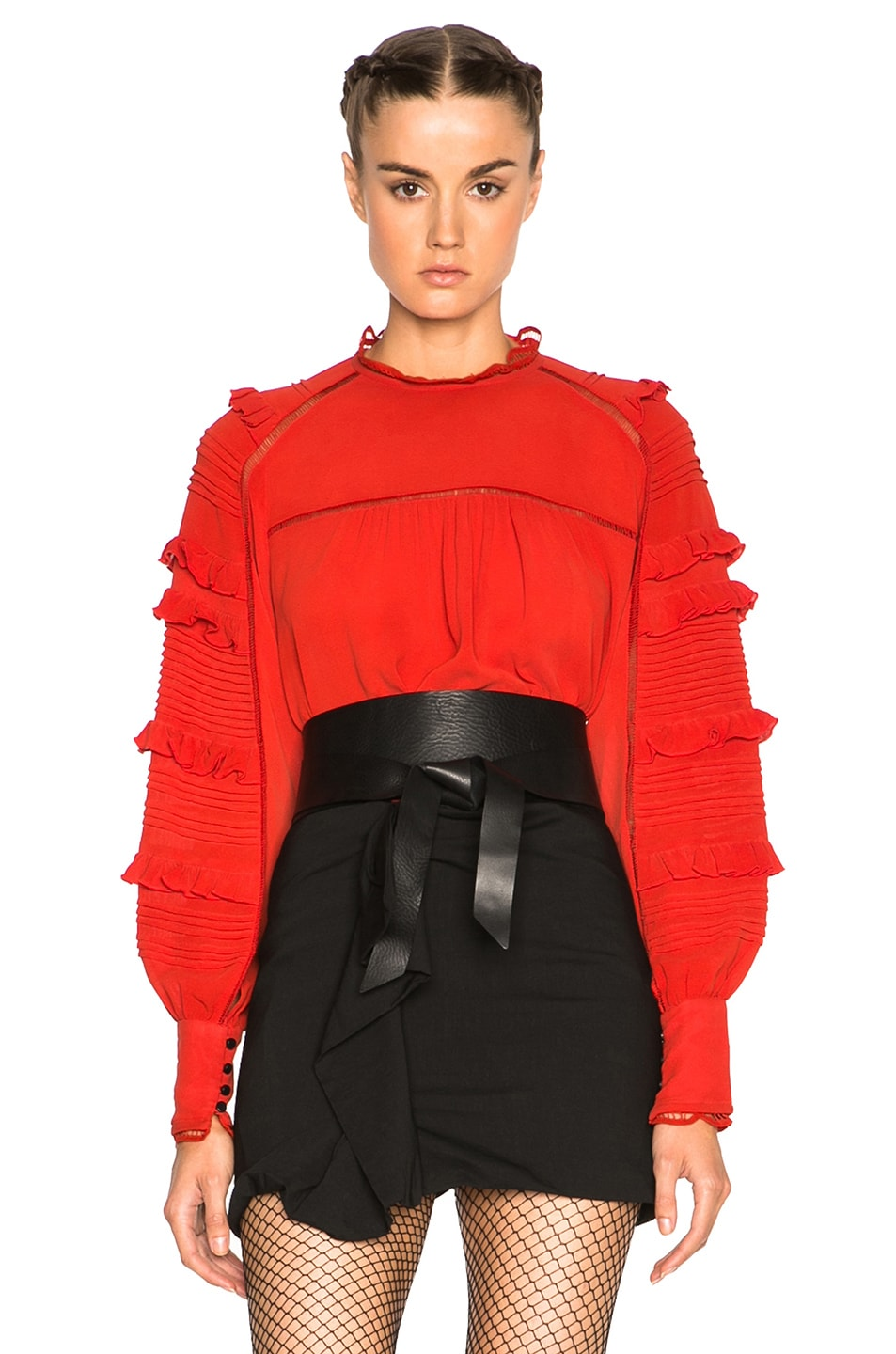 Image 1 of Isabel Marant Qimper Silk & Lace Blouse in Red