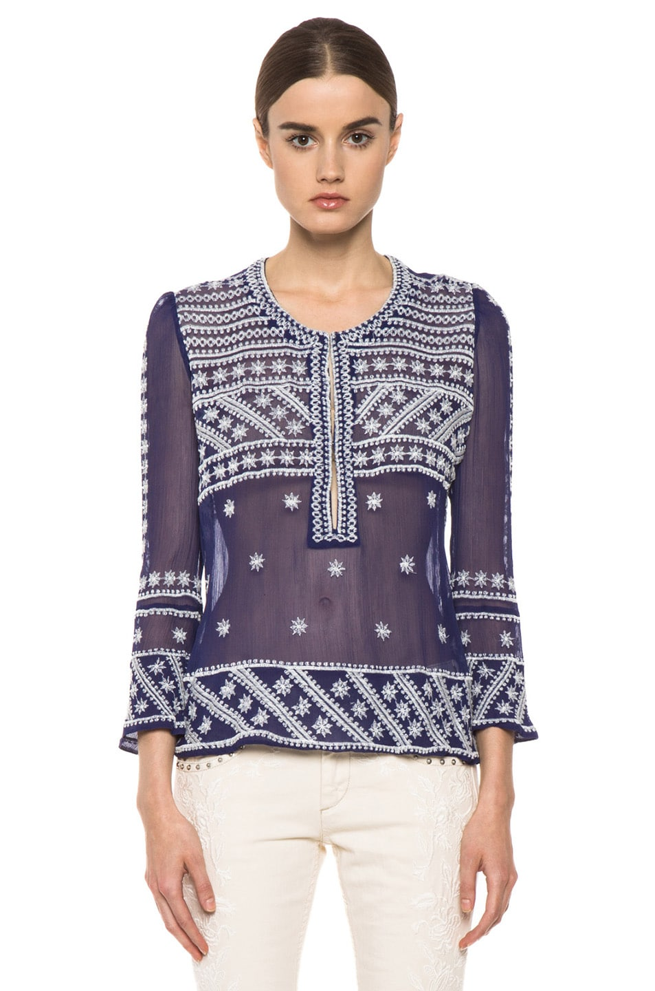 Image 1 of Isabel Marant Loria Embroidered Silk Top in Blue