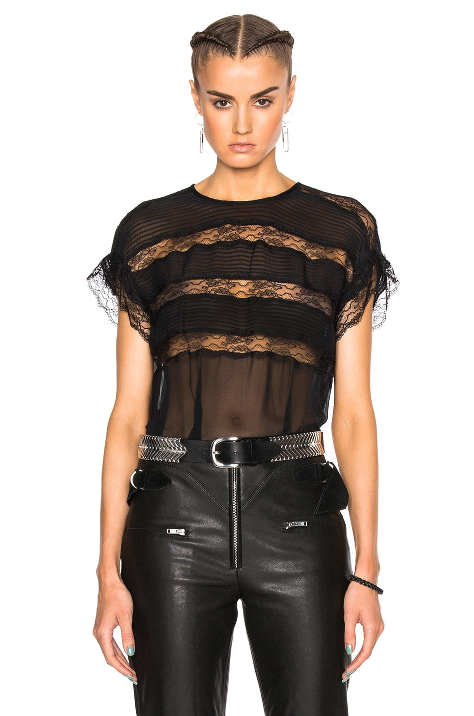 Image 1 of Isabel Marant Spike Easy Victorian Top in Black