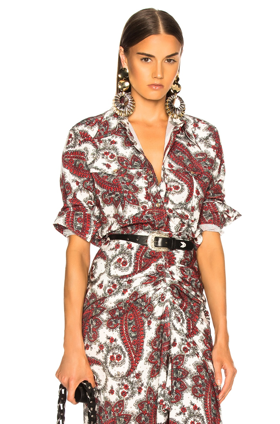 Image 1 of Isabel Marant Tania Shirt in White & Red