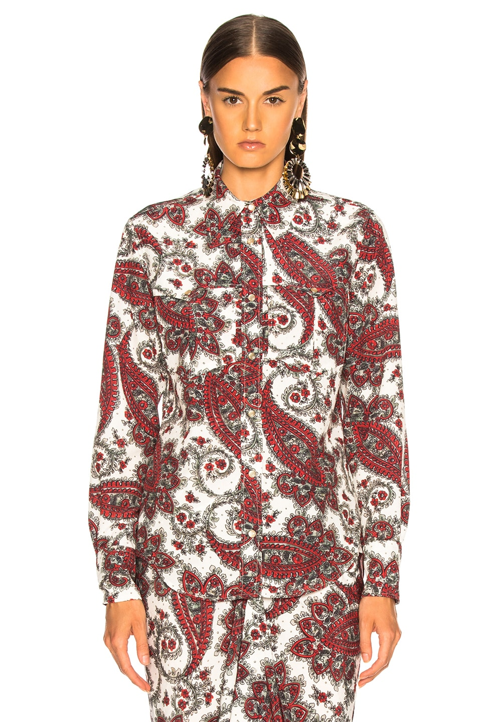 Image 2 of Isabel Marant Tania Shirt in White & Red
