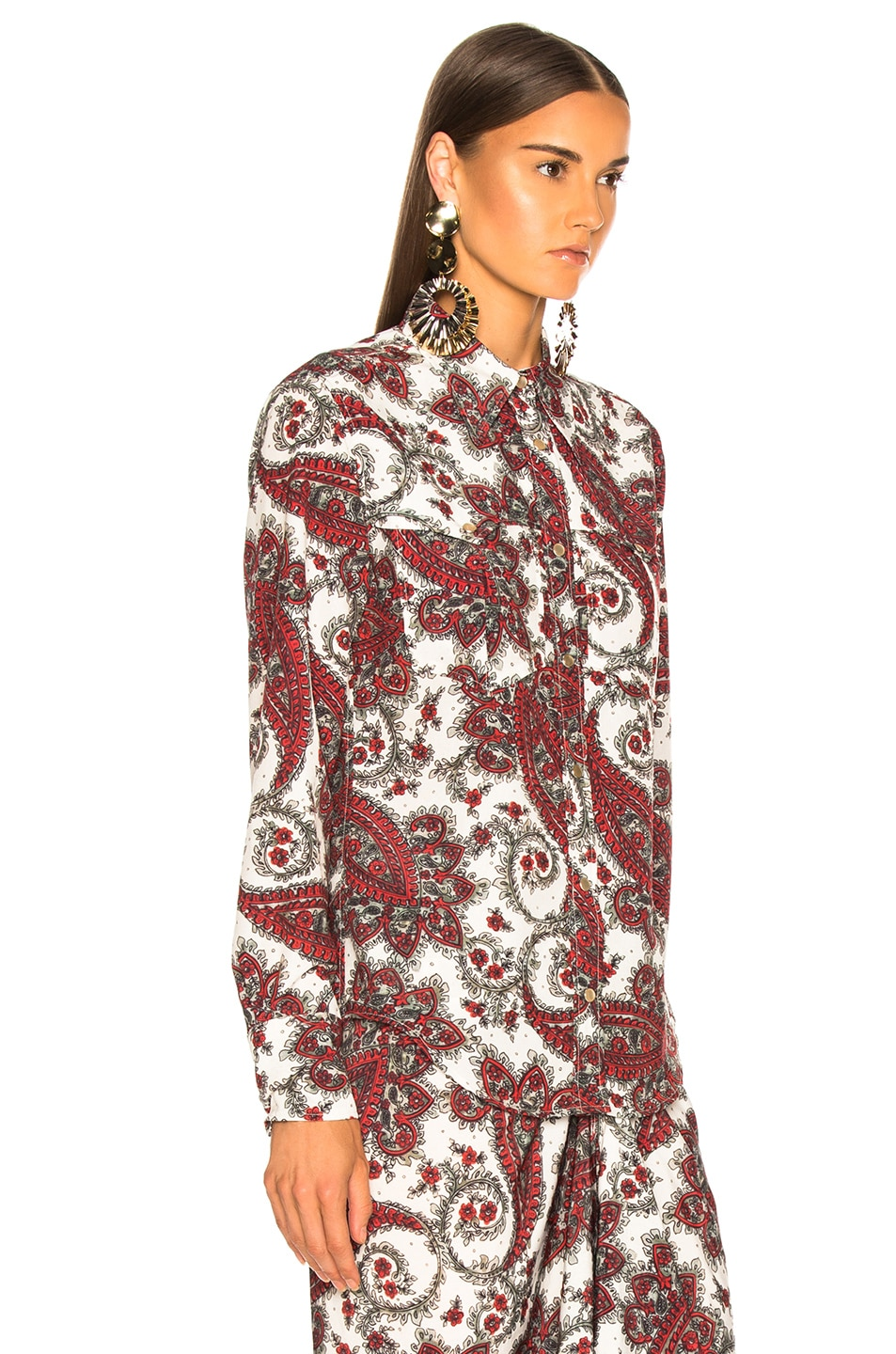 Image 3 of Isabel Marant Tania Shirt in White & Red