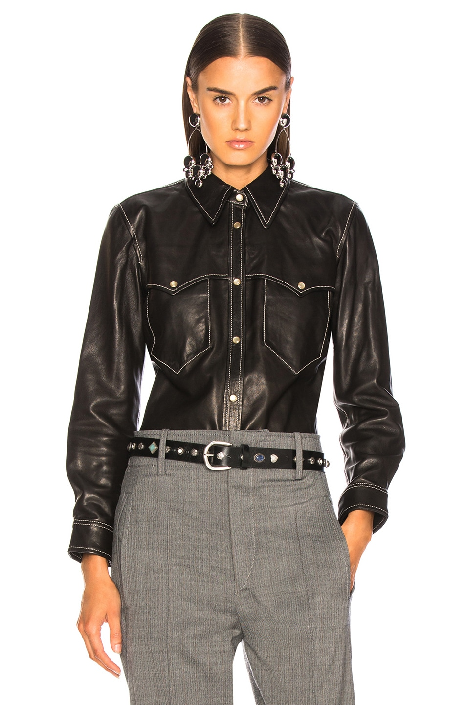Image 1 of Isabel Marant Leather Nile Shirt in Black