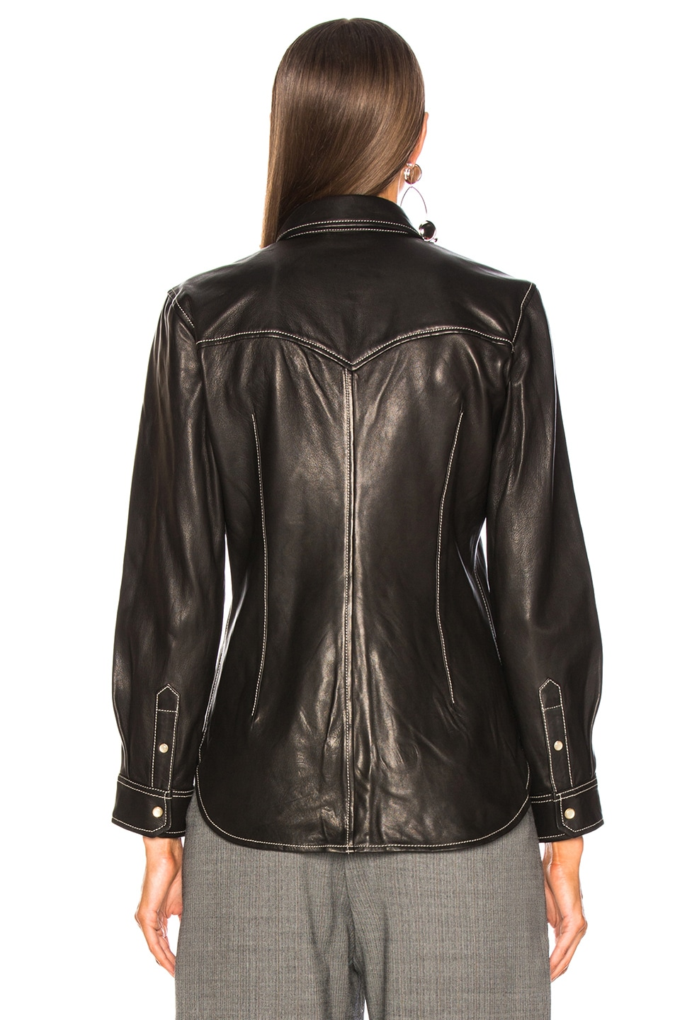 Image 4 of Isabel Marant Leather Nile Shirt in Black