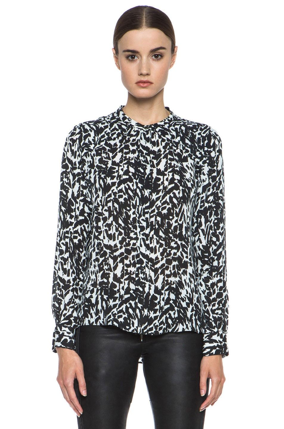 Image 1 of Isabel Marant Moriah Charmeuse Leopard Blouse in Black