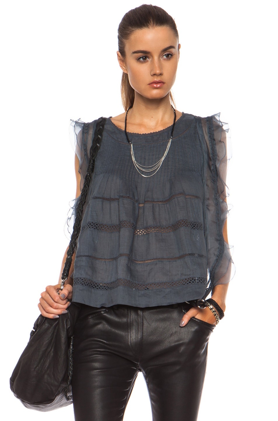 Image 1 of Isabel Marant Ojima Ramie Top in Slate Blue