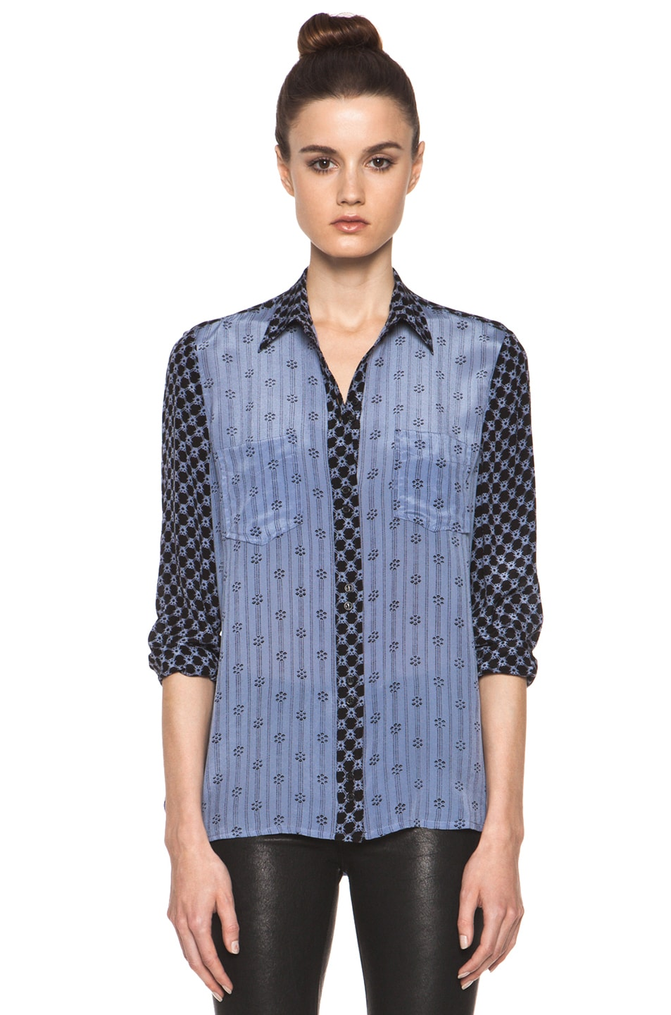 Image 1 of Isabel Marant Melina Striped Silk Crepe Blouse in Tempest Blue