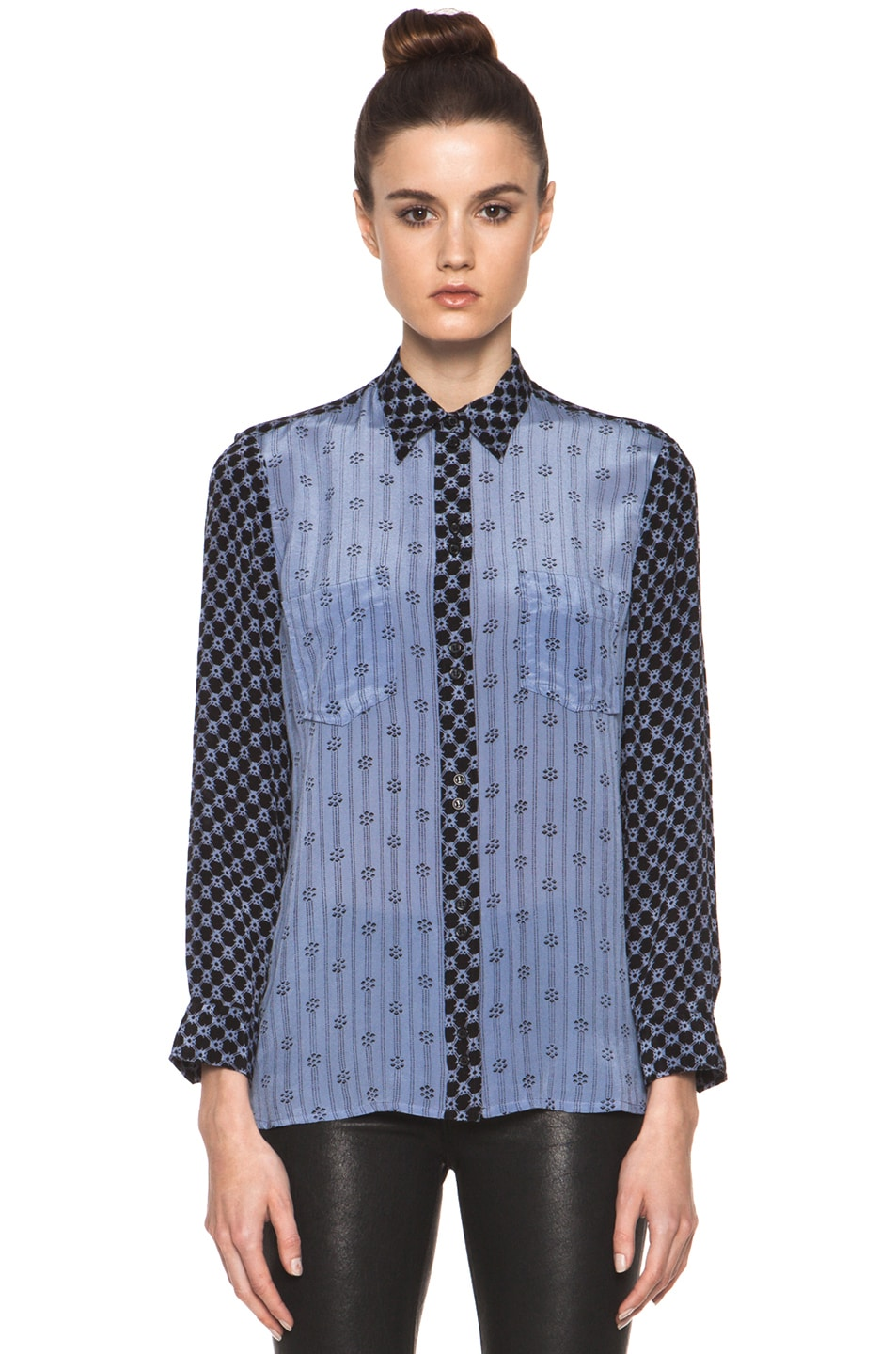 Image 2 of Isabel Marant Melina Striped Silk Crepe Blouse in Tempest Blue