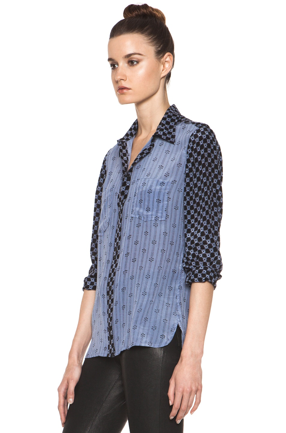 Image 3 of Isabel Marant Melina Striped Silk Crepe Blouse in Tempest Blue