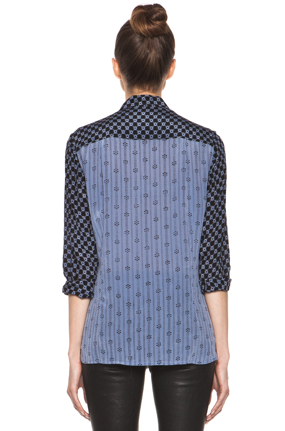 Image 5 of Isabel Marant Melina Striped Silk Crepe Blouse in Tempest Blue