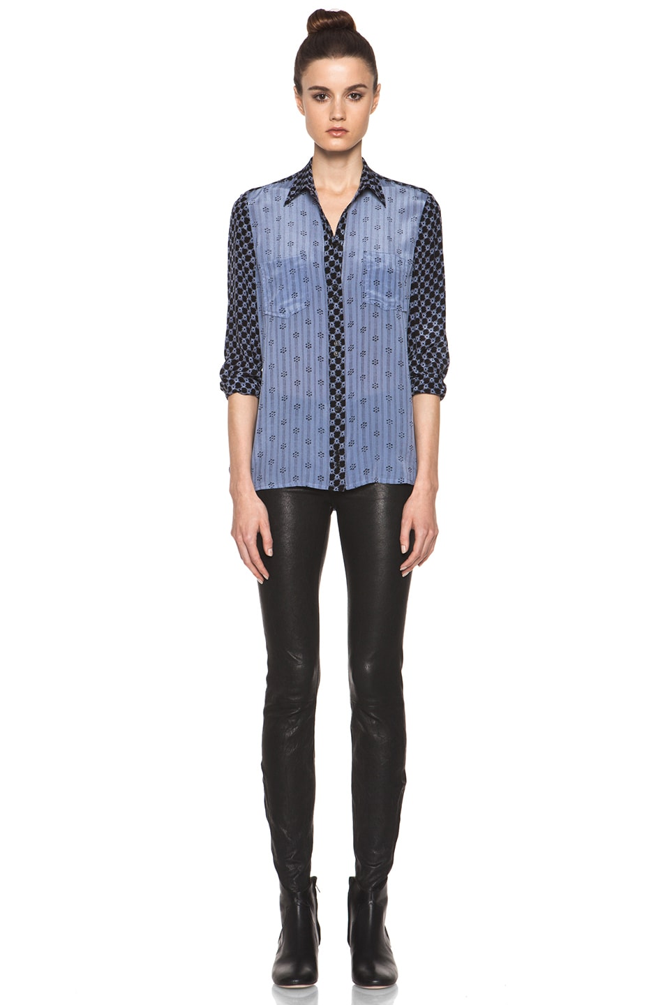 Image 6 of Isabel Marant Melina Striped Silk Crepe Blouse in Tempest Blue