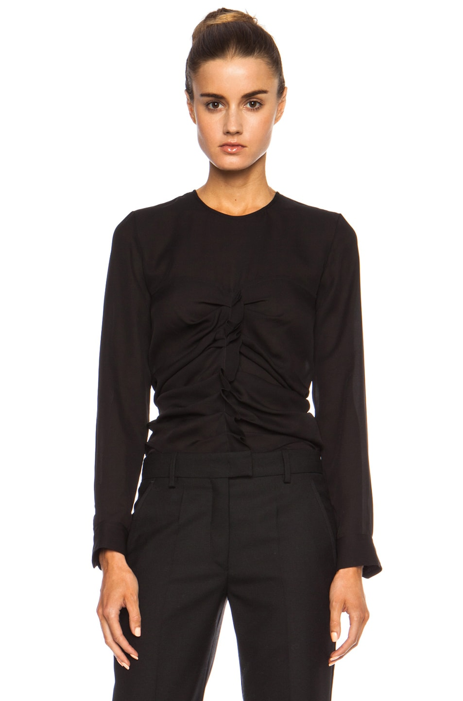Image 1 of Isabel Marant Heather Ruched Silk Georgette Top in Black